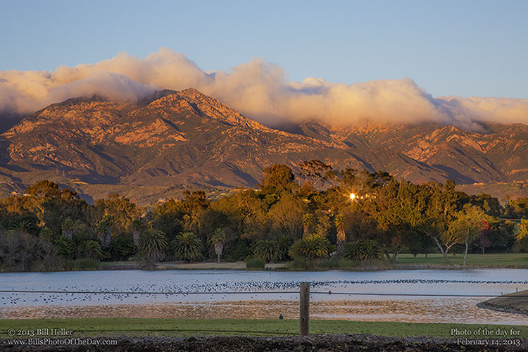 Santa Ynez Mountains topped with clouds from Laguna Blanca
