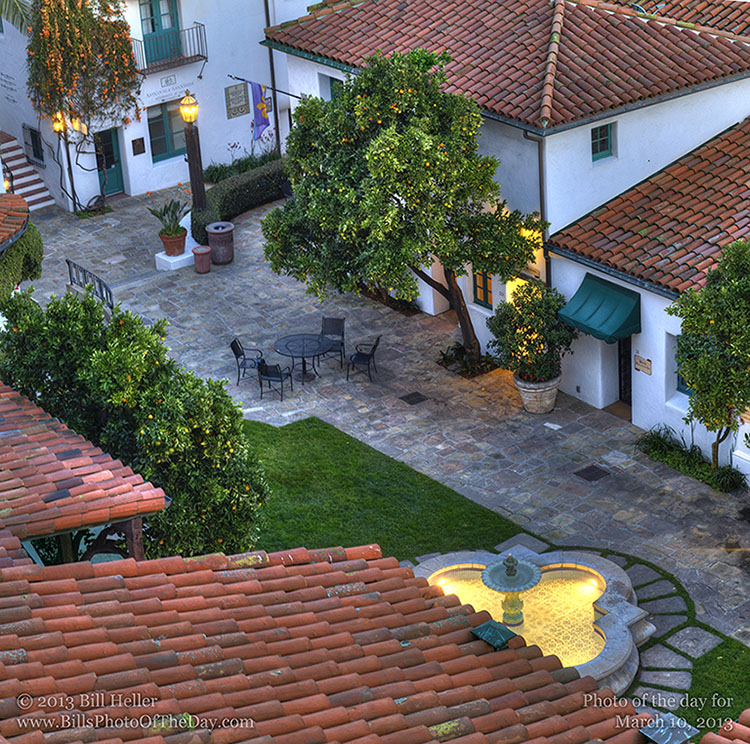 Courtyard and Fountain in the El Paseo block of Santa Barbara