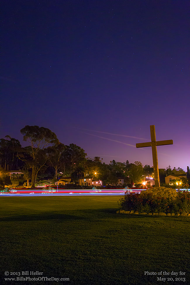 Santa Barbara Mission Cross After Dark