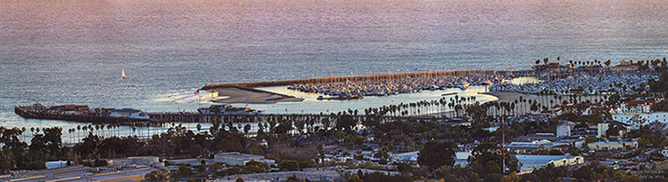 Santa Barbara Harbor and Stearns Wharf from the hills above the city