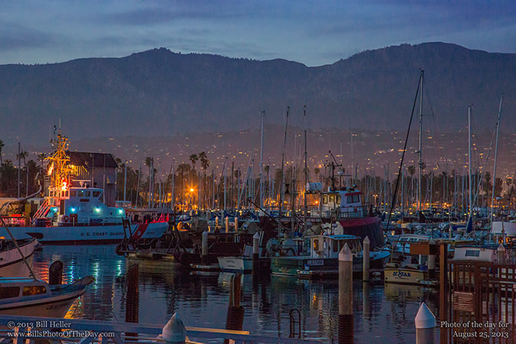 The Santa Barbara Mountains behind the Lights of the Harbor