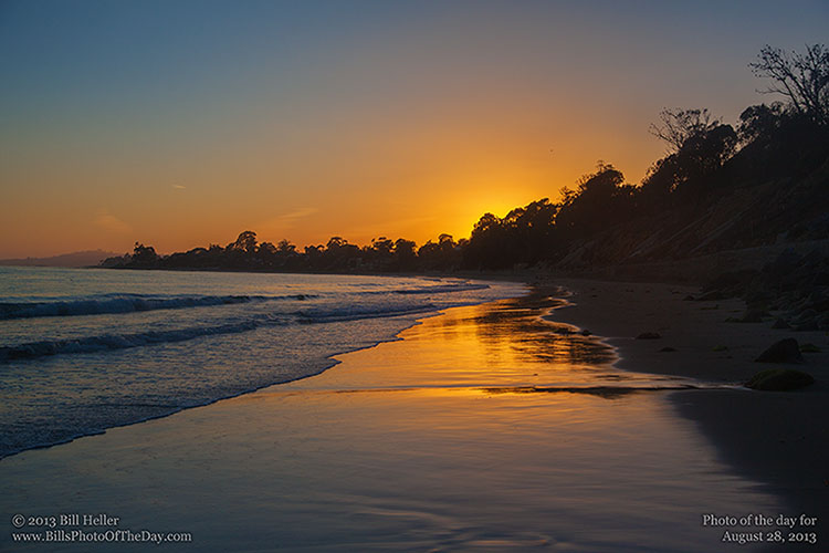 Sunset over the beach in Summerland California