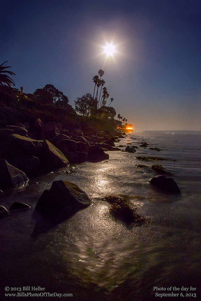 Butterfly Beach by Moonlight, Montecito, California