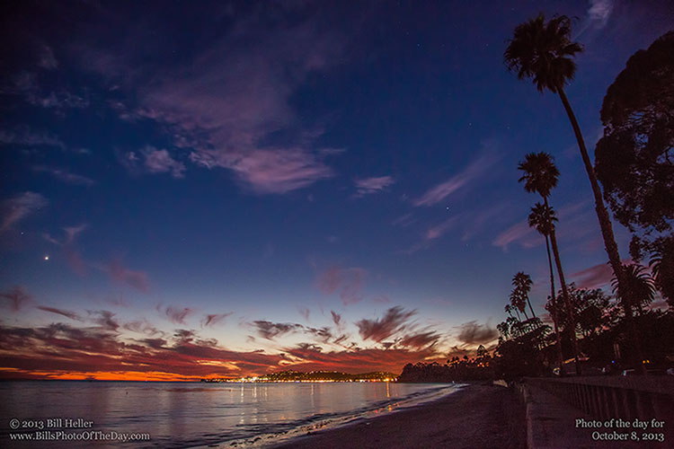 Venus over Butterfly Beach with the last colors of the setting sun, Montecito, California