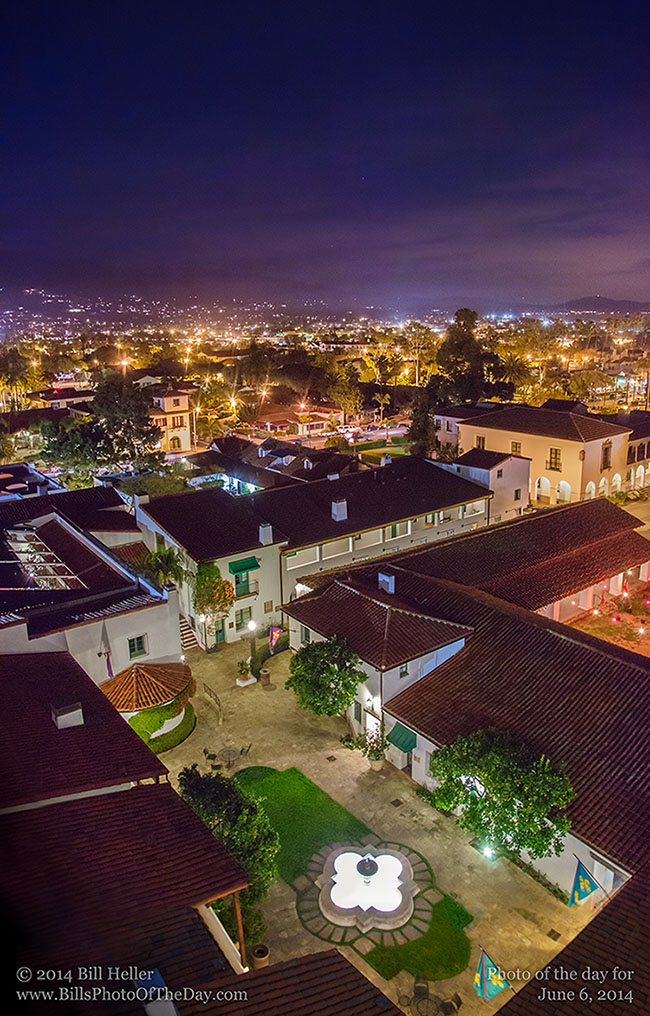 Nighttime view of the lights of Santa Barbara from a downtown rooftop