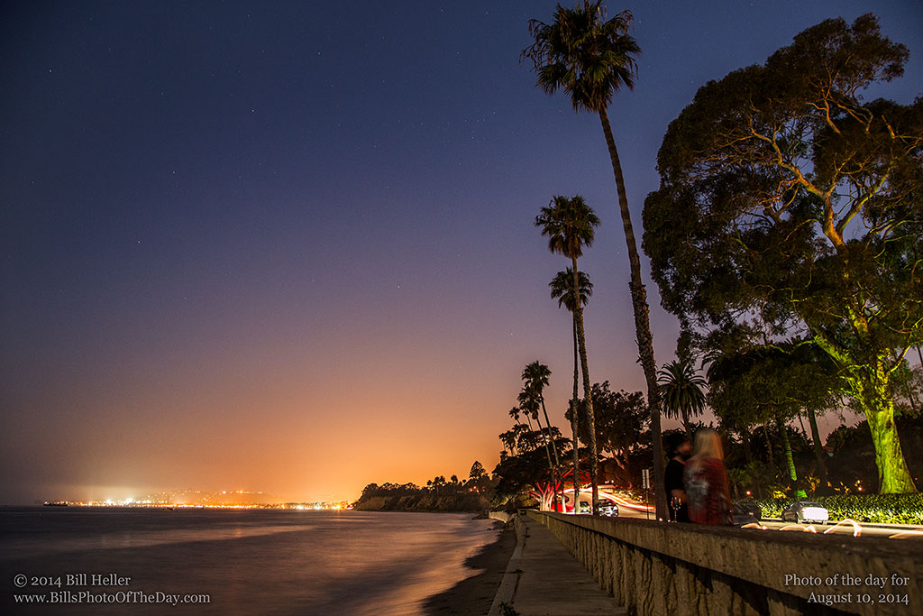 Long Exposure of the Stars and Lights of Santa Barbara from Butterfly Beach