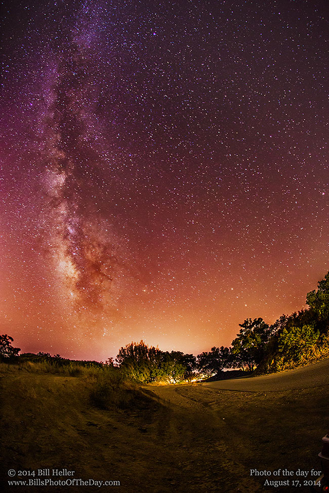Milky Way and the glow in the distance of the city of Goleta