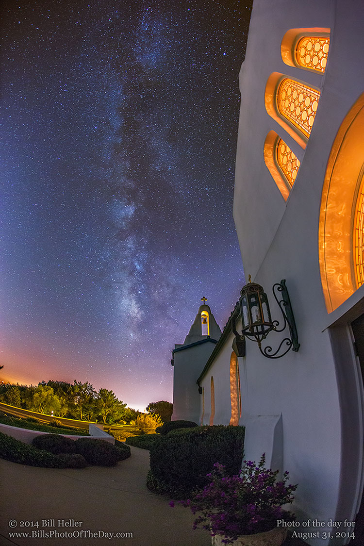 Milky Way over the Santa Barbara Greek Orthodox Church