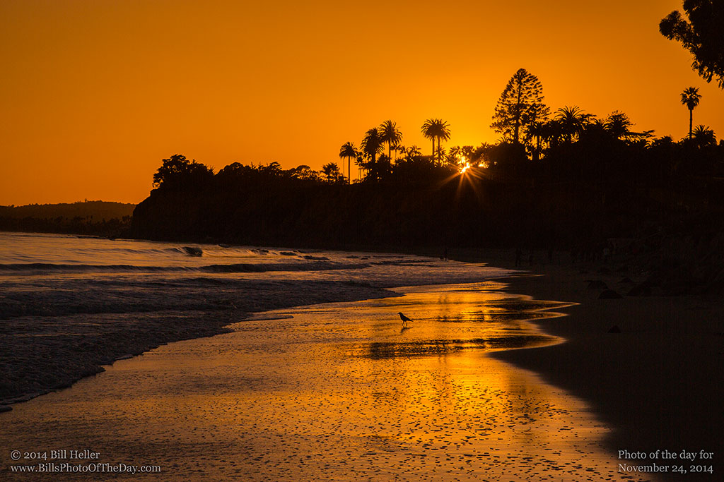 Setting Sun over Butterfly Beach in Montecito