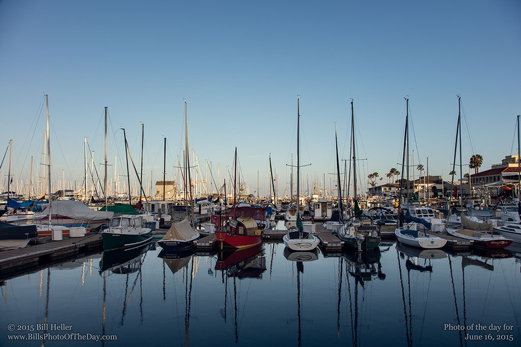 Sailboats reflecting in Santa Barbara Harbor