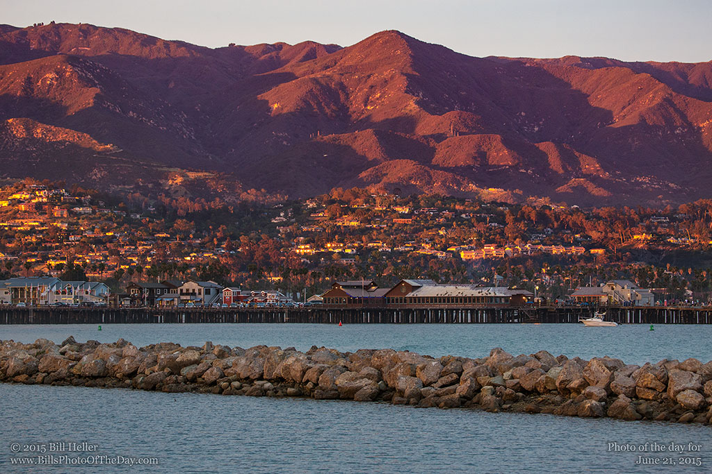 Golden hour light on the Santa Barbara Mountains