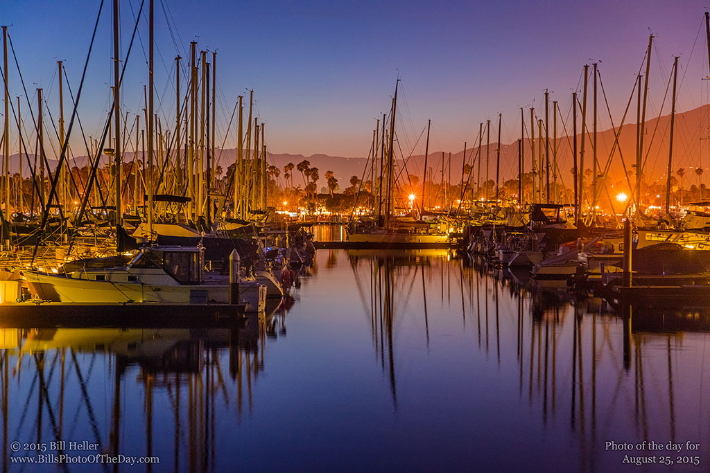 Sailboats in their Slips at the end of a Beautiful Day in Santa Barbara