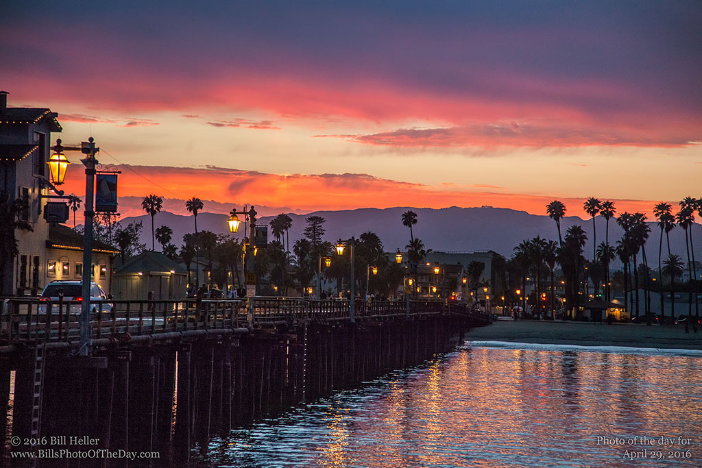 Sterans Wharf at sunset, Santa Barbara, California