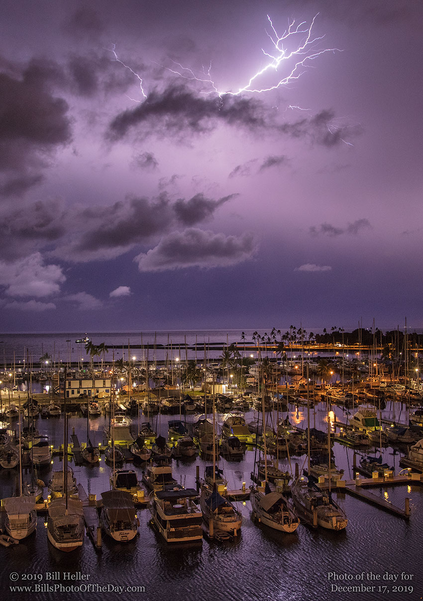 Lightning Bolt over Ala Wai Harbor in Waikiki, Hawaii